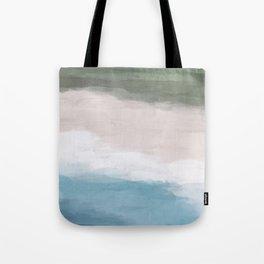 Ocean Aqua Blue Green Grass Beige Sand Abstract Tropical Hawaii Aerial Wall Art, Painting Tote Bag