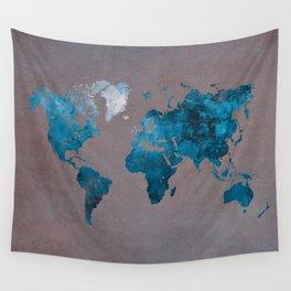 world map 104 blue #worldmap #map Wall Tapestry