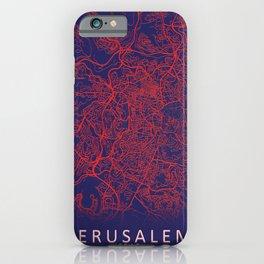 Jerusalem, Israel, Blue, White, City, Map iPhone Case