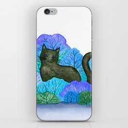 Blue Forest and Black Cat Watercolor iPhone Skin