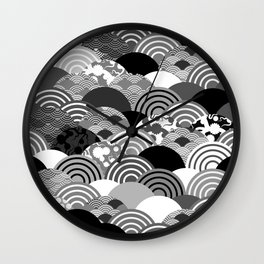 Nature background with japanese sakura flower, Cherry, wave circle Black gray white colors Wall Clock