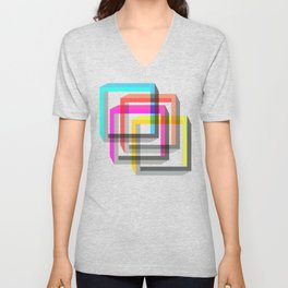 Colorful impossible 3D shapes overlapping. Unisex V-Neck