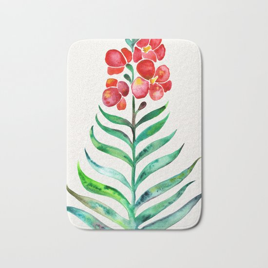 Blooming Orchid – Red & Green Palette Bath Mat