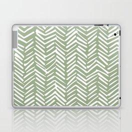 Boho Herringbone Pattern, Sage Green and White Laptop & iPad Skin