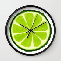 lime Wall Clocks featuring Lime by Linde Townsend