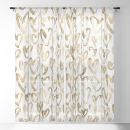 Gold Love Hearts Pattern on White Sheer Curtain