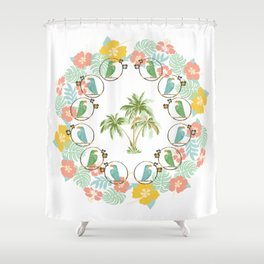 Cool Tropical Toucan Floral Shower Curtain