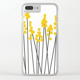 Hello Spring! Yellow/Black Retro Plants on White #decor #society6 #buyart Clear iPhone Case