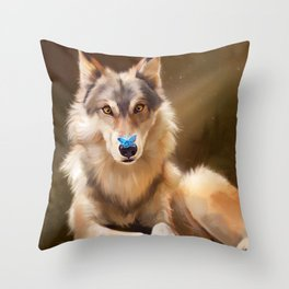 Wolf and butterfly Throw Pillow