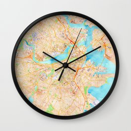 Boston watercolor map XL version Wall Clock