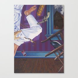 rope broke, used gun Canvas Print