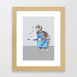 Turtle waitress coffee time Framed Art Print