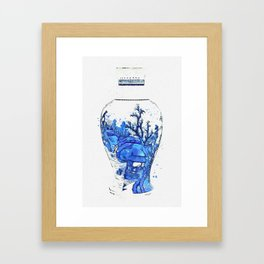 A BLUE AND WHITE 'LANDSCAPE' VASE QING DYNASTY, KANGXI PERIOD 3 watercolor by Ahmet Asar Framed Art Print