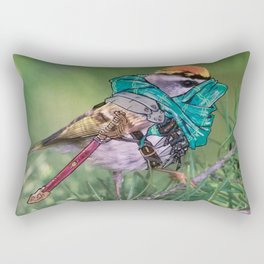 Birds In Armor Rectangular Pillow