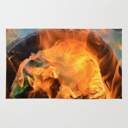 fire in a hollow log Rug