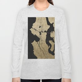 Seattle Black and Gold Street Map Long Sleeve T-shirt
