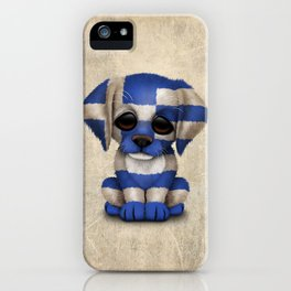 Cute Puppy Dog with flag of Greece iPhone Case