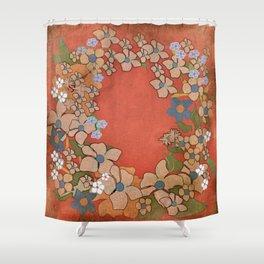 Ornamental Floral Wreath Shower Curtain