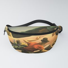 The Great Plains, Achelous and Hercules Mural Panel 1 landscape painting by Thomas Hart Benton Fanny Pack