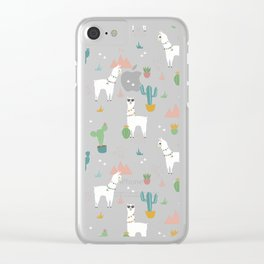 Summer Llamas on Pink Clear iPhone Case