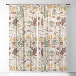 Hygge Kitchen Pattern Sheer Curtain