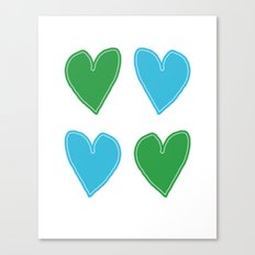 Blue and Green Hearts - 4 hearts Canvas Print