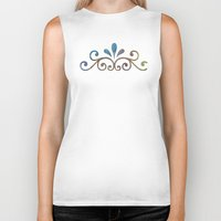 damask Biker Tanks featuring Seashell & Damask by Lachlan Willis