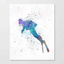 Man scuba diver 02 in watercolor Canvas Print