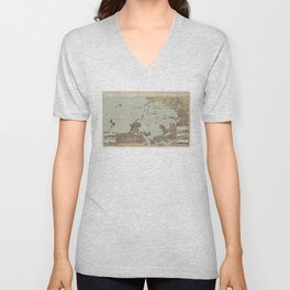 Vintage Pictorial Map of Boston Harbor (1879) Unisex V-Neck