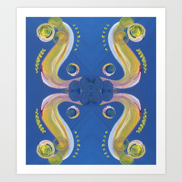 Transitions - Yellow Blue Reflections Open, Vulnerable or Freedom Art Print