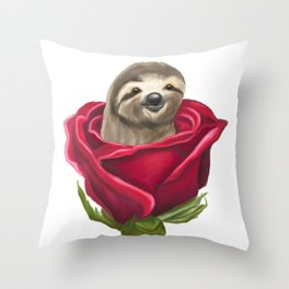 Sloth in a Rose Throw Pillow