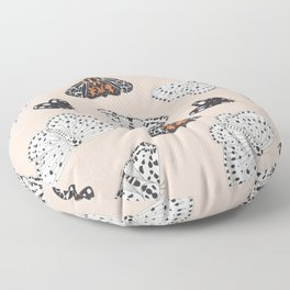 Muted Illustrated Moth Pattern Floor Pillow