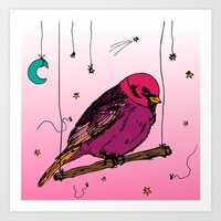 birdy Art Prints featuring Birdy by Gwladys R.