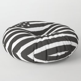 Black N White American Flag Distressed Style Floor Pillow