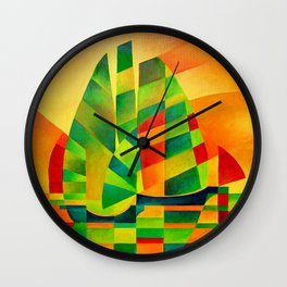 Chinese Junks, Sunset, Sails and Shadows Wall Clock