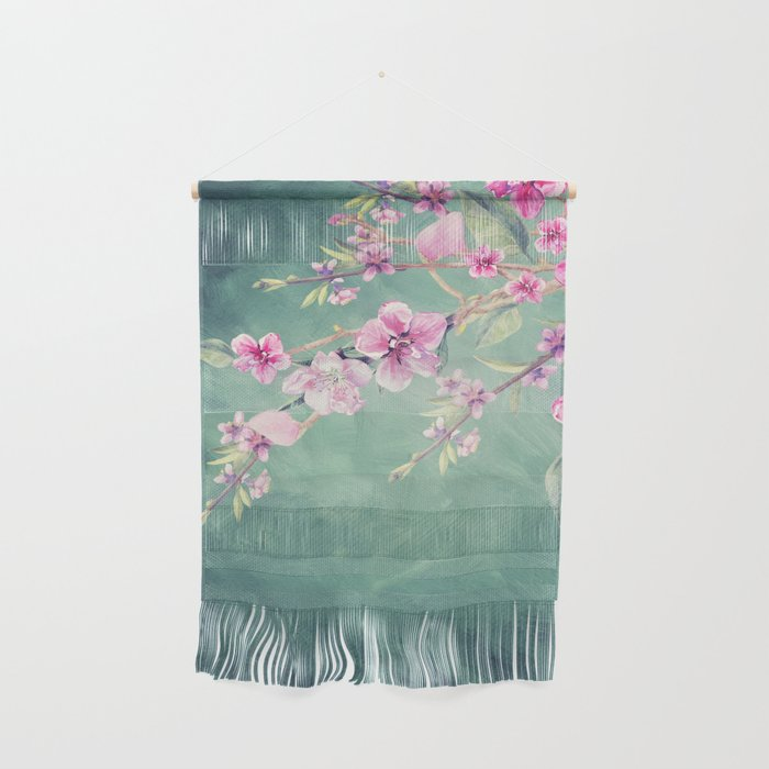 Vintage Garden Peach Blossoms Wall Hanging By