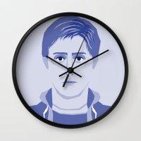 breakfast club Wall Clocks featuring The Breakfast Club - Andrew by Priscila Floriano