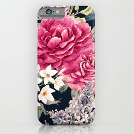 Watercolor Painting Roses White Blossoms Dark Garden Floral Kingdom iPhone Case