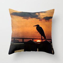 Heron Silhouette Throw Pillow