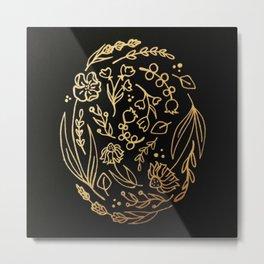 Golden Autumnal Equinox Oval Shaped Floral Illustration Metal Print