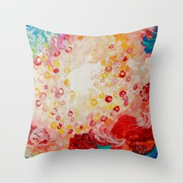 SUMMER DAYS Feminine Pretty Pink Red Peach Abstract Acrylic Painting Whismical Nature Color Splash Throw Pillow