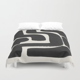 Black Ink Paint Brush Strokes Abstract Organic Pattern Mid Century Style Duvet Cover