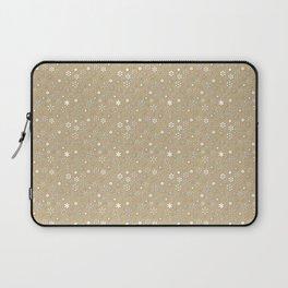 Gold & White Christmas Snowflakes Laptop Sleeve