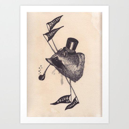 raccoon carnival Art Print
