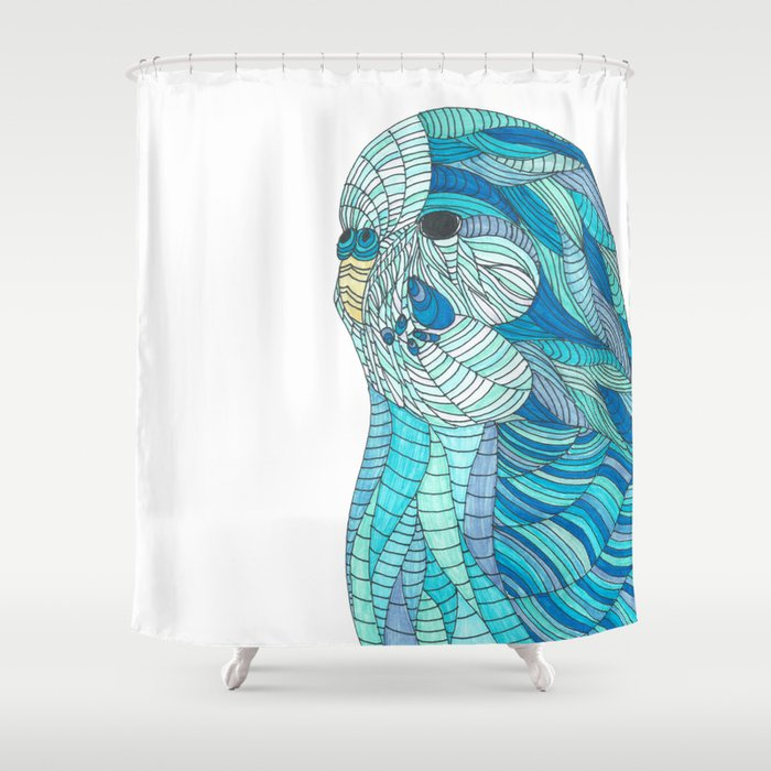 Stained Glass Budgie Ombre Blue Line Work Geometric Illustrated Shower Curtain