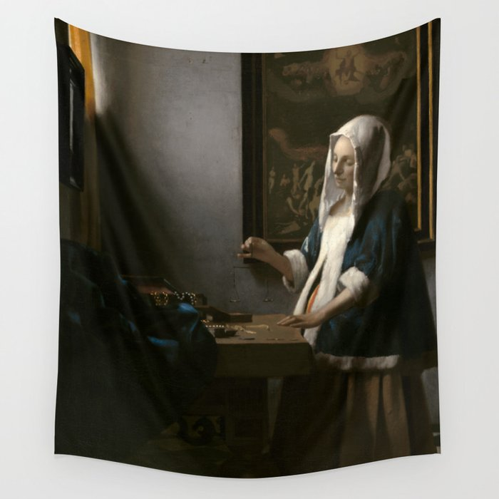 Woman Holding a Balance Oil Painting by Johannes Vermeer Wall Tapestry