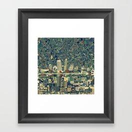 indianapolis city skyline green Framed Art Print