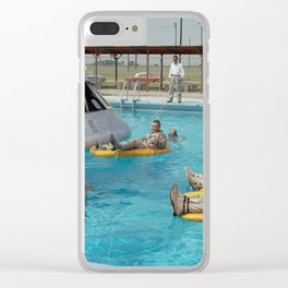 Apollo 1 - Relaxing by the Swimming Pool Clear iPhone Case