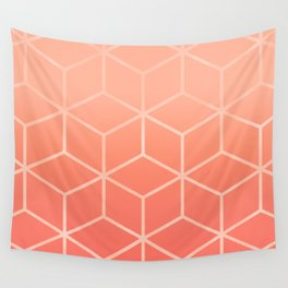 Living Coral Gradient - Geometric Cube Design Wall Tapestry