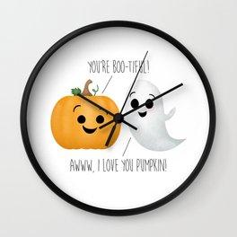 Boo-tiful Couple   Pumpkin & Ghost Wall Clock